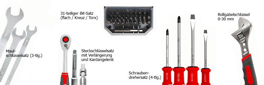 Inhalt des 120-teiligen Werkzeugkoffers