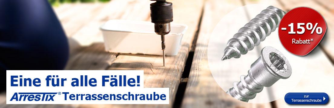Arrestix Terrassenschrauben 5,5mm - Edelstahl A4 - Zylinderkopf mit Torx Antrieb -15% Rabatt