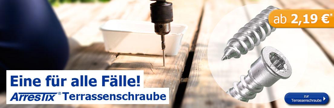 Arrestix Terrassenschrauben 5,5mm - Edelstahl A4 - Zylinderkopf mit Torx Antrieb - ab 2,19 Euro/10 Stück