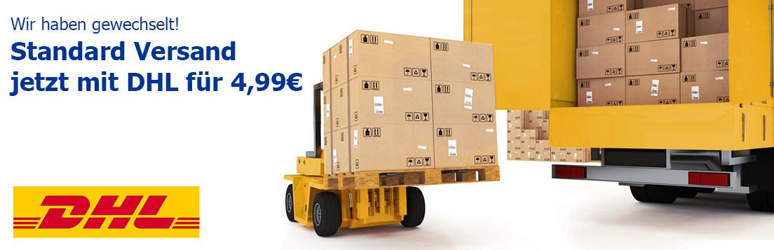 Unser neuer Standard Versand für Sie: DHL für 4,99 Euro