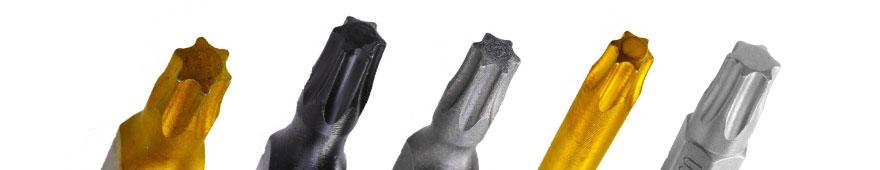 Torx Bits mit unterschiedlichen Oberflächen nebeneinander aufgereiht
